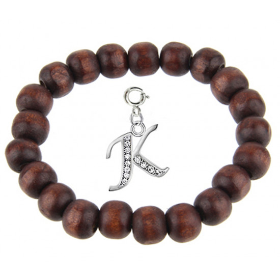 Wooden Stretchable Bracelet with Silver Initial Charm Beads - Letters A To Z