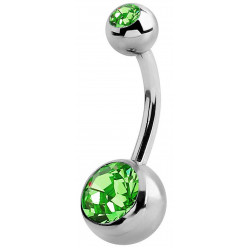 Surgical Steel Double Jeweled Bellybar Piercing  1.6MM / 14G 10MM Length Various Colours