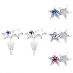 Hypo Allergic Plastic Post Star Stud Earrings - You Get 3 Pair Each Color