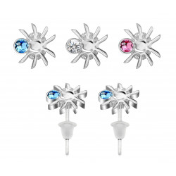 Hypo Allergic Plastic Post Spider Stud Earrings - You Get 3 Pair Each Color