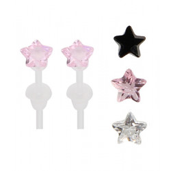 Solitaire Star Plastic Post Stud Earrings - You Get 3 Pair Each Color