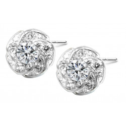 Sterling Silver Stud Fire Blaze Twirl Earrings Made of CZ Crystals - Various Colours