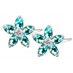 Sterling Silver Stud Plumerian Flower Fashion Earrings with CZ Crystals - Various Colours