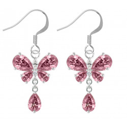 Sterling Silver Drop Butterfly Fashion Earrings with CZ Crystals - Various Colours