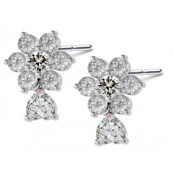 Sterling Silver Stud Flower Fashion Earrings with CZ Crystals - Various Colours