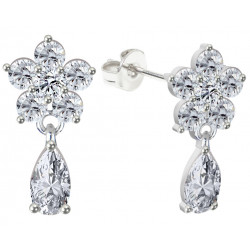 Sterling Silver Dangle Floral Fashion Earrings with CZ Crystals - Various Colours
