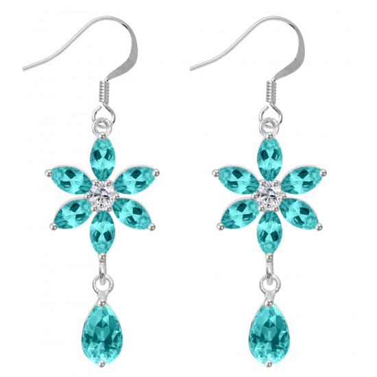 Sterling Silver Flower Fashion Dangle Earrings with CZ Crystals - Various Colours