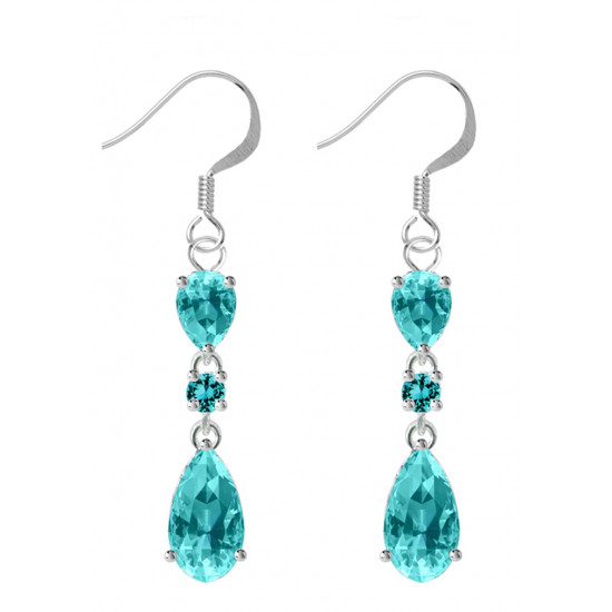 Sterling Silver Tear Drop Fashion Dangle Earrings with CZ Crystals - Various Colours