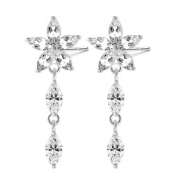 Sterling Silver Dangle Hawaiian Flower Fashion Earrings with CZ Crystals - Various Colours
