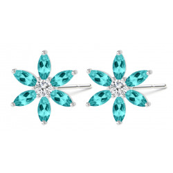 Sterling Silver Floral Fashion Stud Earrings with CZ Crystals - Various Colours