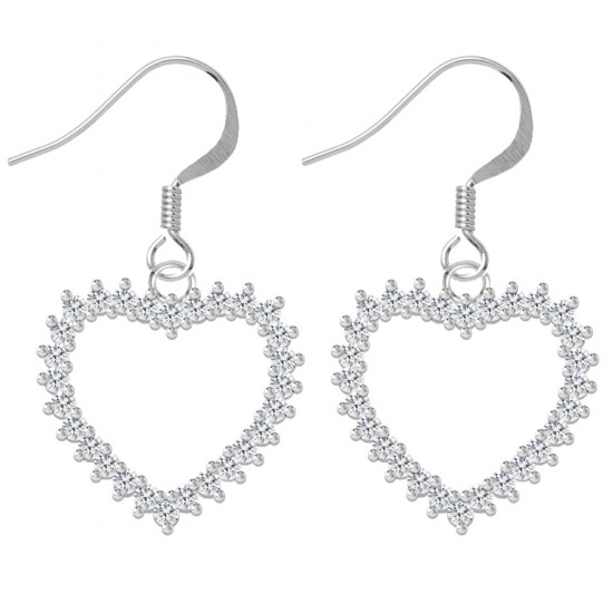 Sterling Silver Open Heart Fashion Earrings with CZ Crystals - Various Colours
