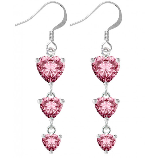 Sterling Silver Three Layer Drop Heart Fashion Earrings with CZ Crystals - Various Colours