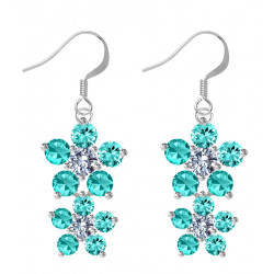 Sterling Silver Double Floral Fashion Dangle Earrings with CZ Crystals - Various Colours