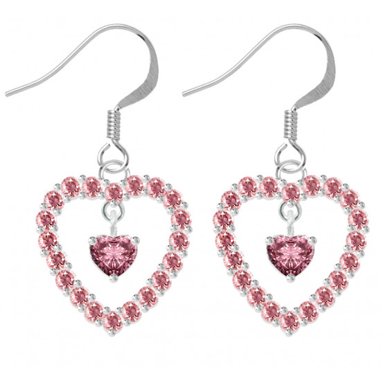 Sterling Silver Open Heart Fashion Earrings with Heart Center CZ Crystals - Various Colours