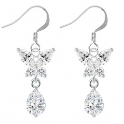Sterling Silver Dangle Butterfly Fashion Earrings with CZ Crystals - Various Colours