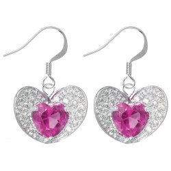 Sterling Silver Dangle Center Heart Shape Earrings Made of CZ Crystals - Various Colours