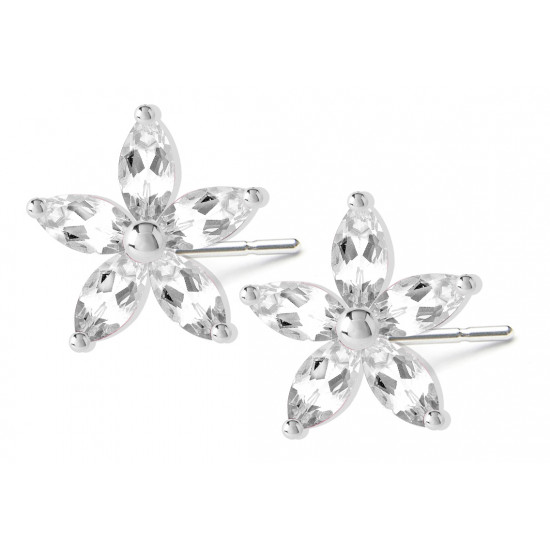 Sterling Silver Plumerian Flower Fashion Stud Earrings with CZ Crystals - Various Colours