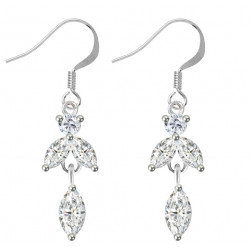 Sterling Silver Dangle Drop Fashion Earrings with CZ Crystals - Various Colours