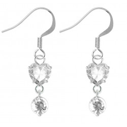 Sterling Silver Dangle Drop Heart Fashion Earrings with CZ Crystals - Various Colours