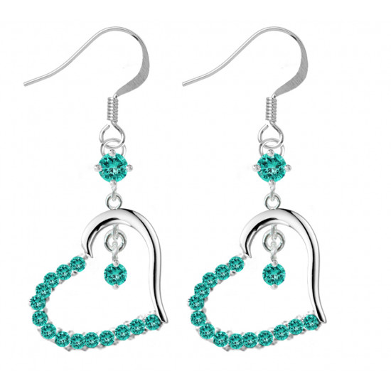 Sterling Silver Open Heart Fashion Dangle Earrings with CZ Crystals - Various Colours