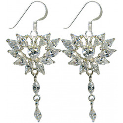 Sterling Silver Dangle Earrings Heart with CZ Crystals - Various Colours