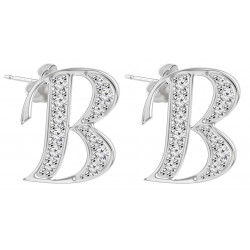 Silver 925 Initial Stud Dangly Earrings Jewellery with CZ Crystals - Letters A to Z