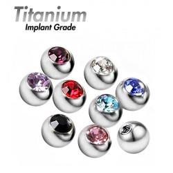 Titanium Implant Grade Threaded Gem Balls - AAA Laser Cut Crystals (5pcs)