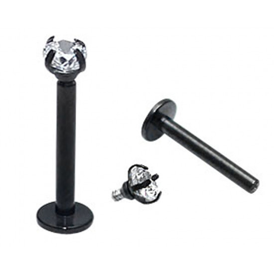 Titanium Labret Unisex Piercing with Top Gem CZ Crystal - Available in Black and Silver Colors Various Sizes - Quality tested by Sheffield Assay Office England