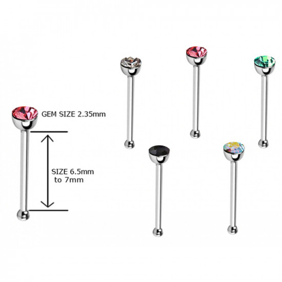 Surgical Steel 316L Nose Pin - BEZEL SET AAA CZ CRYSTAL - Quality tested by Sheffield Assay Office England