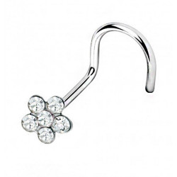 Surgical Steel 316L Nose Pin Twirl Flower - AAA Laser Cut Crystals