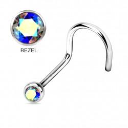 Titanium Implant Grade CURVE NOSE PINS - BEZEL SET AAA CZ CRYSTALS
