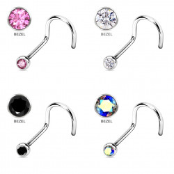 Surgical Steel 316L Curve Nose Pins - BEZEL SET AAA CZ Crystals