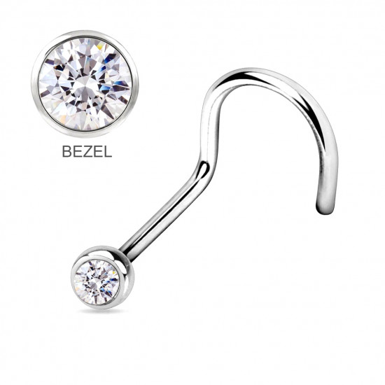 Surgical Steel 316L Curve Nose Pins - BEZEL SET AAA CZ Crystals - Quality tested by Sheffield Assay Office England