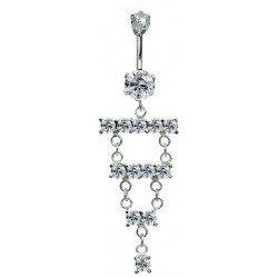 Surgical Steel and Silver Dangle Belly Bars with Full Set CZ Crystals - Various Colours