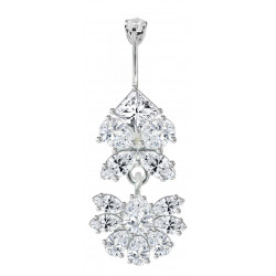 Surgical Steel and Silver Belly Bars with Full Set CZ Crystals - Various Colours