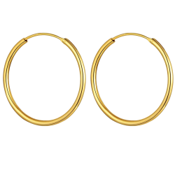 Sterling Silver Unisex Round Hoop Earrings Gold Plated with 1.5mm Thickness - Various Sizes