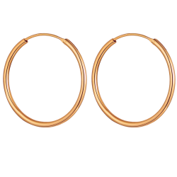 Sterling Silver Unisex Round Hoop Earrings Rose Gold Plated with 1.5mm Thickness - Various Sizes
