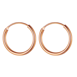 Silver Unisex High Polished Round Hoop Earrings Rosegold Plated - Various Sizes