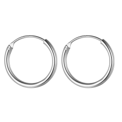 Silver Unisex High Polished Round Hoop Earrings - Various Sizes