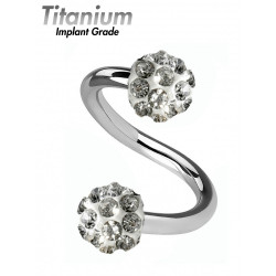 Titanium Implant Grade MULTI CRYSTAL TWISTED BARBELL - CZ Crystals - Quality tested by Sheffield Assay Office England