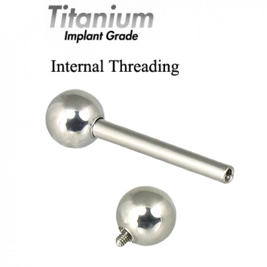 Internally Threaded Titanium Implant Grade STRAIGHT BARBELLS - Quality tested by Sheffield Assay Office England