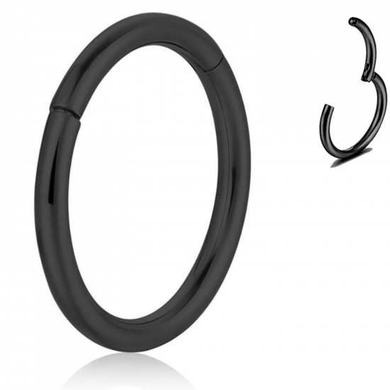 Titanium G23 Hinge Segment Ring - Black - Quality tested by Sheffield Assay Office England