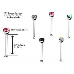 Titanium Implant Grade NOSE PIN - Swarovski Crystals