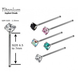 Titanium Implant Grade Solitaire Nosepin - AAA Quality Crystals
