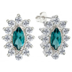 Sterling Silver Stud Floral Fashion Earrings with CZ Crystals - Various Colours