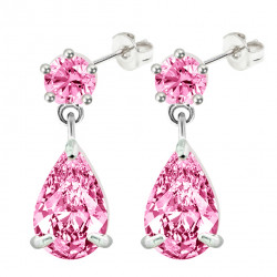 Sterling Silver Dangle Tear Drop Fashion Earrings with CZ Crystals - Various Colours